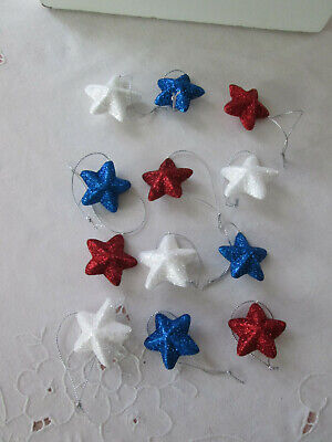 "12-1.5""  Patriotic Red White & Blue Dimensional Glitter Star Ornaments-4th July"