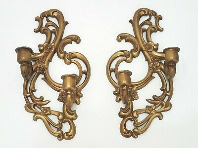 French Provincial Ornate Wall Hanging Candle Holder - SET of 2 Metal Gold Color
