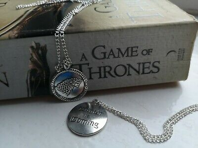 Game of Thrones Stark Pendant Winter Is Coming Silver Chain Necklace Free P&P UK