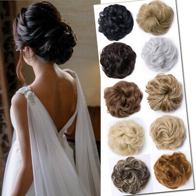 Real Thick Curly Messy Bun Hair Piece Scrunchie 100% Natural Hair Extensions J83