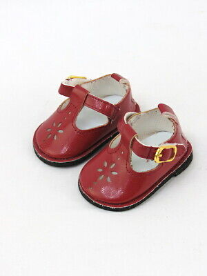 """Burgundy Flower Mary Jane Dress Shoes Fits 18"""" American Girl Doll Clothes Shoes"""