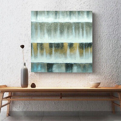 Hand Painted Framed Modern Art Canvas Oil Painting Home Wall Decor Water Curtain
