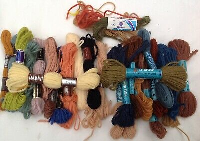 Bulk Lot Dmc And Anchor Tapestry Wool - Autumnal Shades 20 In Original Wrappers