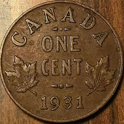 1931 Canada Small Cent Penny 1 Cent George V Coin