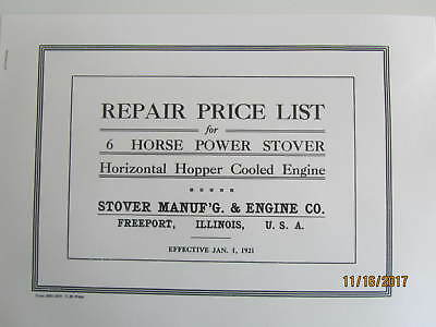 1921 6HP Stover Manufacturing & Gas Engine Co. Repair Parts List