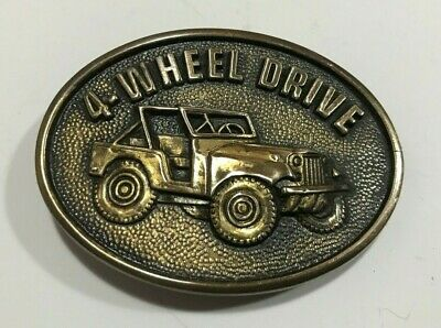 Vintage BTS 4 Wheel Drive 1978 Jeep Belt Buckle Solid Brass Made in USA