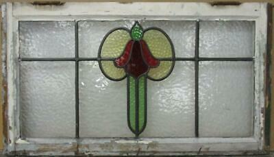 "OLD ENGLISH LEADED STAINED GLASS WINDOW TRANSOM Gorgeous Abstract 31.75"" x 18"""
