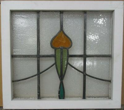 "OLD ENGLISH LEADED STAINED GLASS WINDOW Pretty Sweep Design 18.75"" x 16.75"""