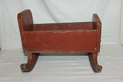 Wonderful Early Antique Primitive Baby Doll Rocking Cradle