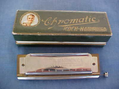 Antique Harmonica Chromatic Koch-Harmonica Made In Germany With Original Box