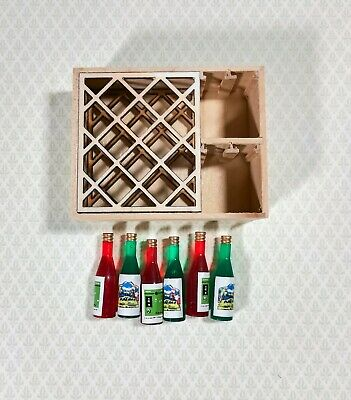 Dollhouse  Miniature Large Wine Rack with 6 Wine Bottles Unfinished 1:12 Scale
