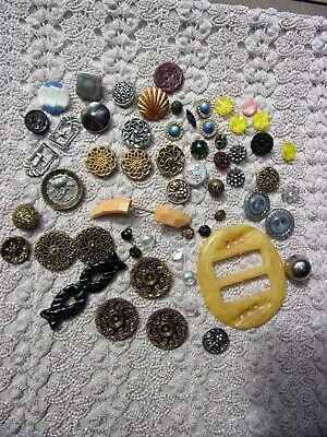 beautiful mixed lot of 58 antique sewing buttons & buckles~Victorian to vintage~