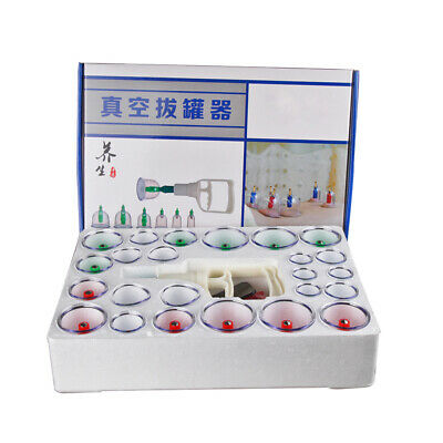 24 Cups /Set Vacuum Cupping Kit Massage Acupuncture Suction Massager Pain-Relief