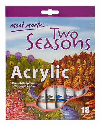 Mont Marte Paint Set - Two Seasons Pastel Colours Acrylic Paint 18pc x 12ml