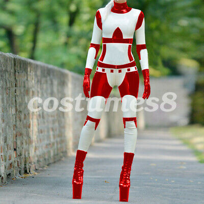 Hot Sale Latex Catsuit 100% Rubber Gummi Tights Red&White Cosplay Bodysuit S-XXL