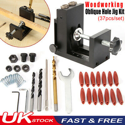 Pocket Hole Jig Kit System Wood Working Joinery Tool Set With Step Drill Bit UK