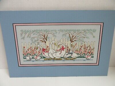 Finished Cross Stitch Spring Geese Bunny Rabbit Picket Fence Completed 10x16