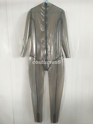 Latex Ganzanzug Catsuit Gummi Smoke Grey Crotch Zipper Handmade Bodysuit S-XXL