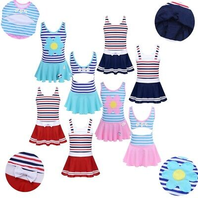Girls One-piece Striped Skirted Swimwear Kid Beach Swimming Bathing Suit Costume