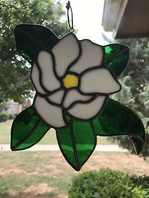Flower Sun catcher Handcrafted Stained Glass White Window Ornament Rose