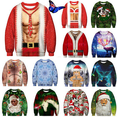 3D Unisex Ugly Christmas Sweater Santa Women Men Xmas Jumper Sweatshirt Tee Tops