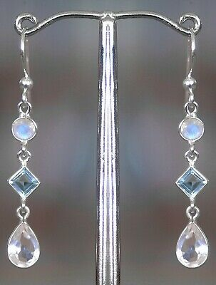 389 Rainbow Moonstone/Blue Topaz/Rose Quartz Solid 925 Sterling Silver earring