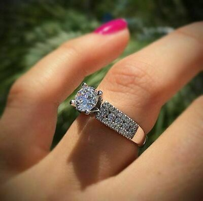 Luxury Shiny 2.5 ct White Sapphire Wedding Ring 925 Silver Engagement Jewelry