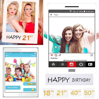18/30/40/50/60th 21st Instagram Frame Photo Booth Props Happy Birthday Party Fun