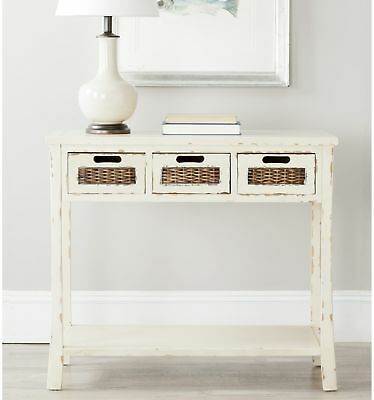 Distressed White 3 Drawer Console Table Coffee Console End Table