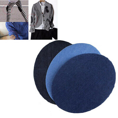 2PCS New Denim Fabric Patch Jeans Oval Knee Elbow Iron-on DIY Pants Applique New