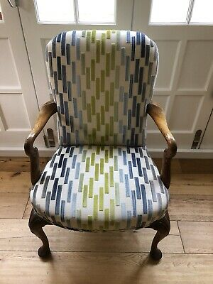 c. 1800 FINE GEORGIAN OAK ELBOW ARMCHAIR - RECOVERED IN FINEST QUALITY FABRIC