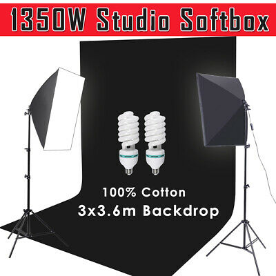 2x135W Photo Softbox Continuous Lighting Light Stand Muslin Black Backdrop Kit