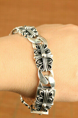 limited edition 93g 100% 925 silver handmade carving flower bracelet cool gift