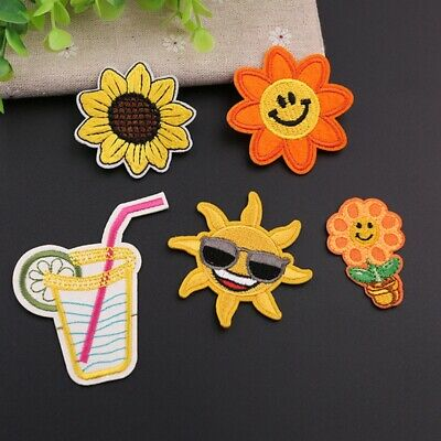 Embroidered Iron On/Sew On Patches Sunflower DIY Clothes Applique Motif Transfer