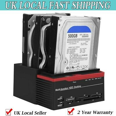"2.5 "" 3.5"" SATA IDE HDD Hard Drive Docking Station Dock Dual-Bay USB HUB Reader"