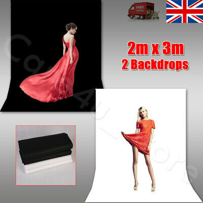 2x3M Photography Black White Backdrop Photo Studio Background Screen Non Woven
