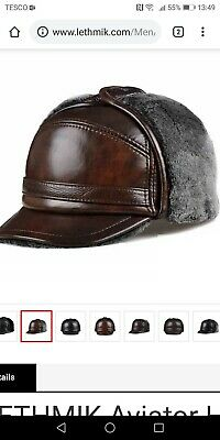 904ad7fc5cc6d LETHMIK Aviator Hat Winter Trapper Hunting Hat Russian Earflap Leather Cap  XXL