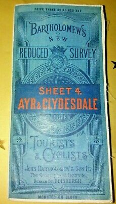 Vintage Bartholomews Tourists & Cyclists Cloth Map Of Ayr & Clydesdale Sheet 4