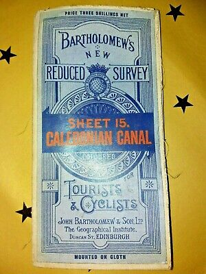 Vintage Bartholomews Tourists & Cyclists Cloth Map Of Caledonian Canal Sheet 15