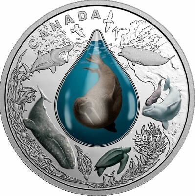 2017 Canadian 1 oz .9999% Fine Silver $20.00 Coin Underwater Life