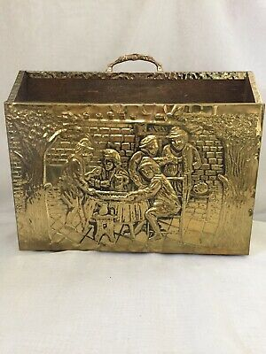 Fabulous Vintage Brass Magazine Storage Rack Ornate Hammered Brass Pub Scene VGC