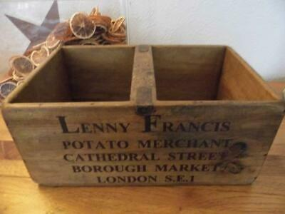 Large Vintage Style Wood Storage Box  Potatoes Crate Potato Merchant London Se1