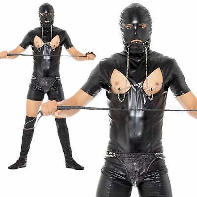 Mens Bondage Gimp Suit Fancy Dress Costume Comedy PVC Stag Party Night Outfit