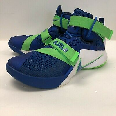 656c27aaef7 Nike Zoom Lebron Soldier IX Men s Size 9.5 Sprite IX Royal Lime 749417-441