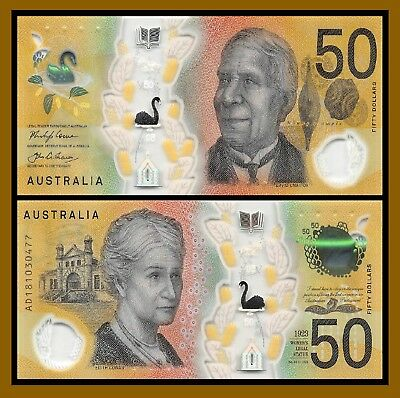 "Australia 50 Dollars, 2018 P-New ""MicroPrint Error"" Note Polymer Swan Unc"