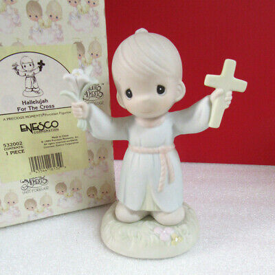 Precious Moments HALLELUJAH FOR THE CROSS Boy with Crucifix and Flower Figurine