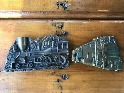 LOT!! two 70s vtg TRAIN locomotive 80s brass BELT BUCKLE LOOK!! trains