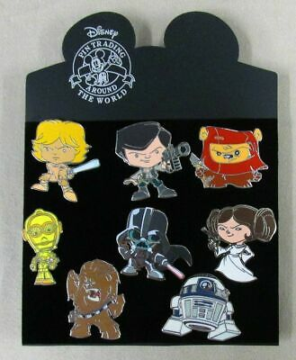 Disney Cute Star Wars Mystery Pin Set of 8 - Leia Vader Luke Han Solo C-3PO R2D2