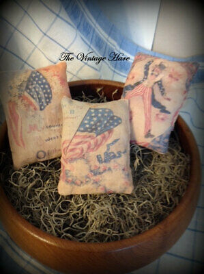 Set of 3 Primitive Americana Patriotic Bowl Ornies Pillow Tucks Vintage Hare