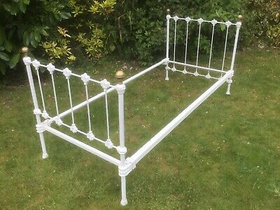 Vintage style cast iron single 6ft bed frame, brass knobs, easy assembly